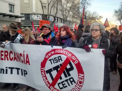 movilización en Madrid contra el CETA