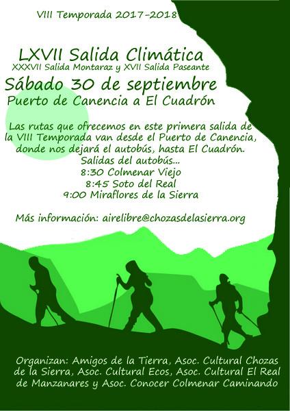 Ir a Madrid: LXVII Salida Climática, XXXVII Salida Montaraz, XVII Salida Paseante