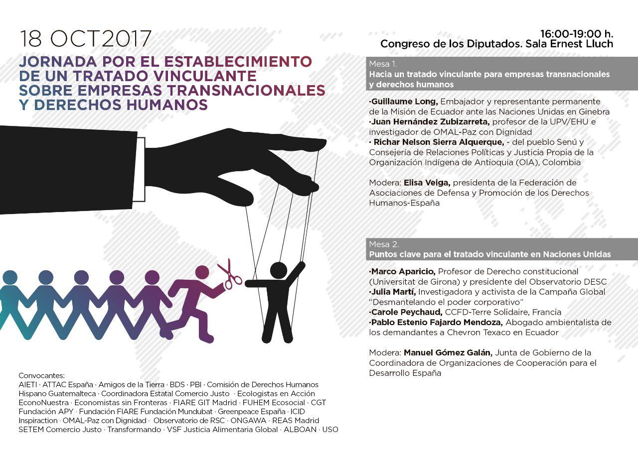 Ir a Madrid: Jornada por el establecimiento de un tratado vinculante sobre empresas transnacionales y derechos humanos