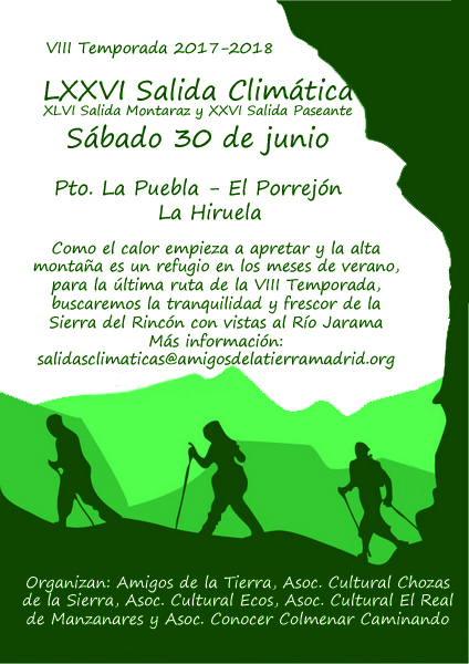 Ir a Madrid: La LXXVI Salida Climática y la XLVI Salida Montaraz
