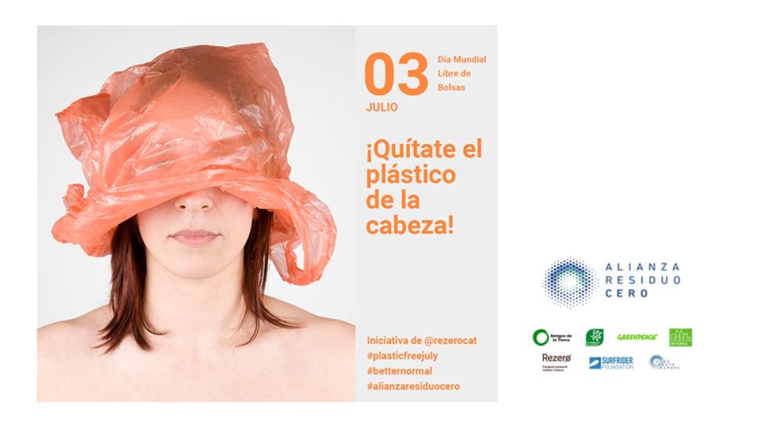 Ir a Con el lema «Quítate el plástico de la cabeza» desde la Alianza Residuo Cero queremos destronar la cultura del usar y tirar
